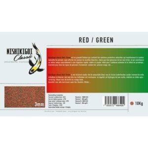 Nishikigoi classic Red / Green 3 mm 10 kg, aliment pour poissons d'ornement et nourriture pour carpe koi